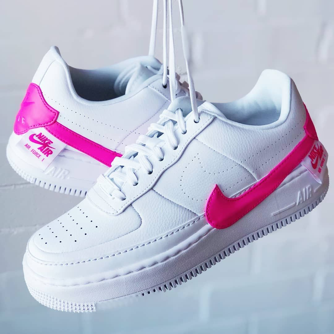 The 2019 Nike Air Force 1 Jester XX Shoe in pink and white