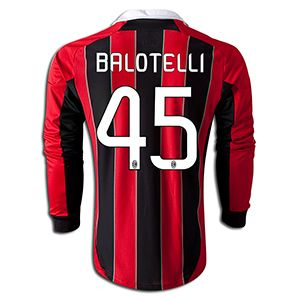 adidas Mario Balotelli AC Milan Long Sleeve Home Jersey 12 ...