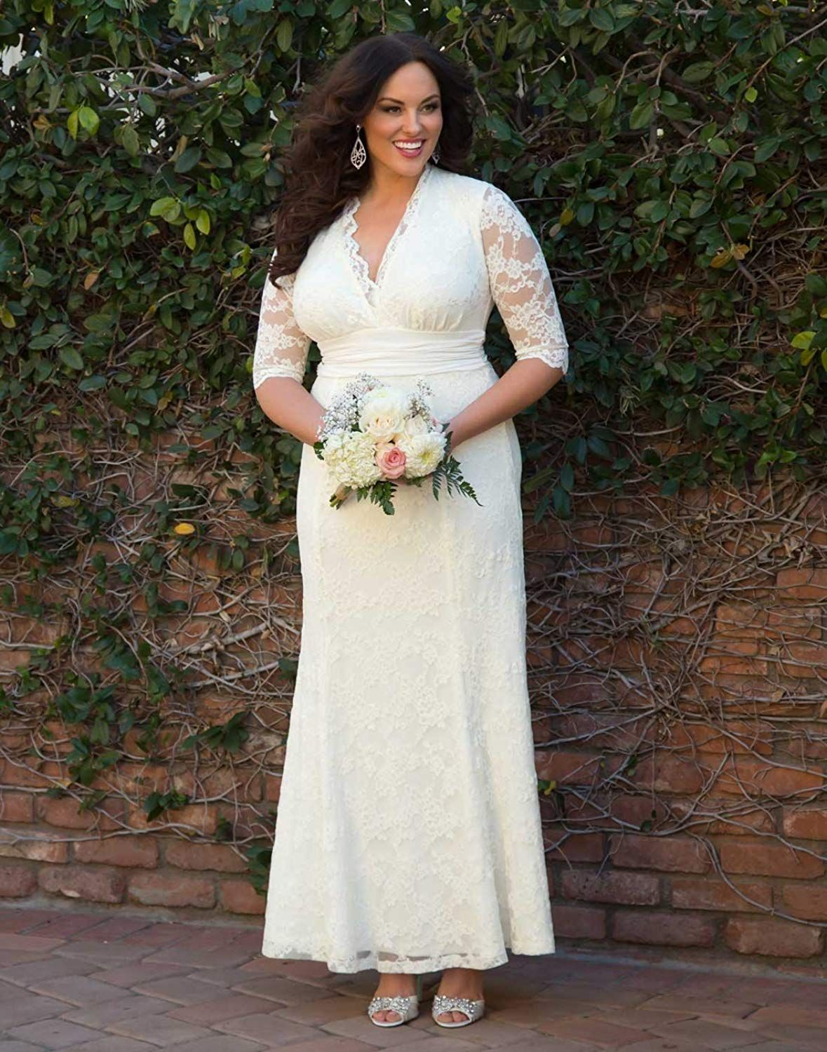 71c0eace8bf Kiyonna Women s Plus Size Amour Lace Wedding Gown     Want to know more
