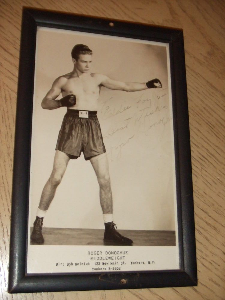 RARE 1949 SIGNED FRAMED Roger Donaghue PROMO Boxing Photo Donoghue ...