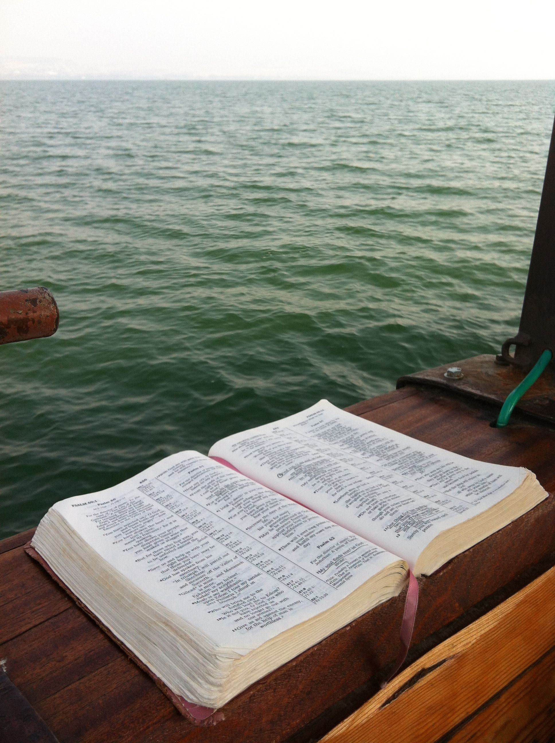 The Sea of Galilee - wit the Bible open, as it was even ...