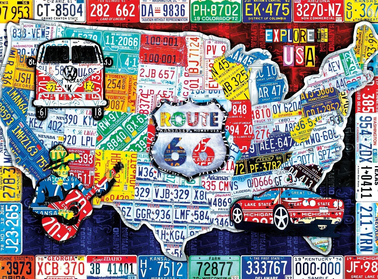 Take An Exciting Trip Across The United States With This Puzzling - Us-map-made-out-of-license-plates