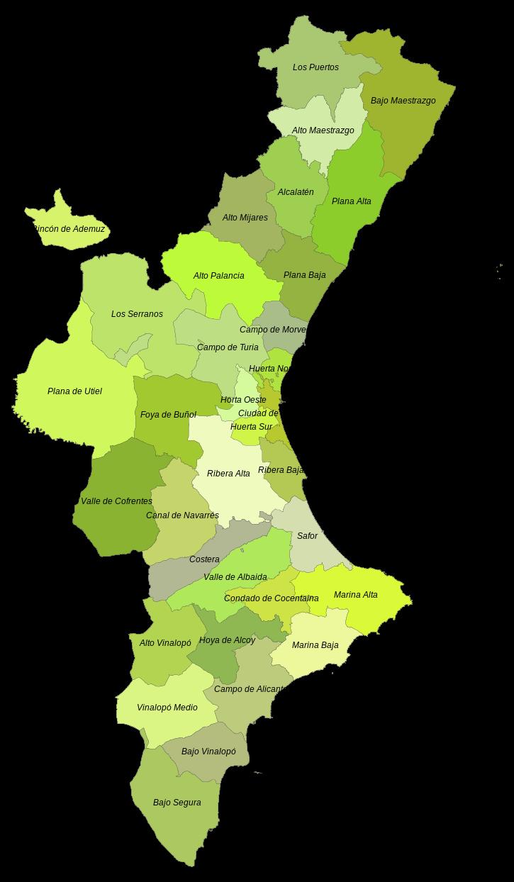 Mapa Rios Comunidad Valenciana.Mapa Comarcal De La Comunidad Valenciana Comarcas De