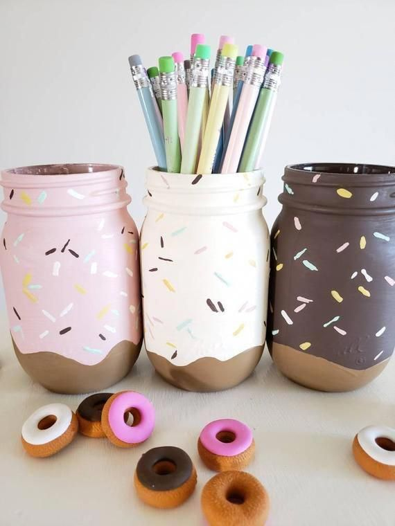 Set of 3 Neapolitan Donut Mason Jar Set, Tabletop