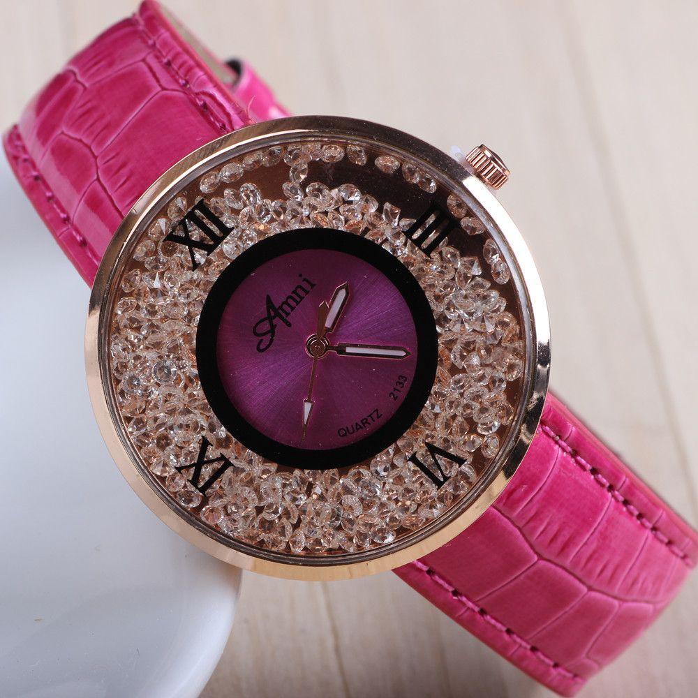 7 colores nuevas mujeres rhinestone relojes mujeres se visten relojes correa de cuero relojes AW SB 613 en Relojes de moda de Relojes en AliExpress.com | Alibaba Group