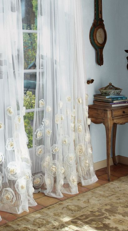 Annalisa Sheer Panel Rose Curtains D With Chiffon And Organza Roses Window Coverings Soft Surroundings