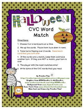 Halloween Activities for Kindergarten CVC Words | Cvc words, Words,  Language arts lessons