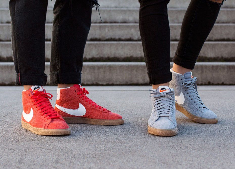 Nike Blazer Mid Vintage womens trainers in grey white and orange white   shoes  sneakers  fashion  camden  white  classic  lifestyle   instagram