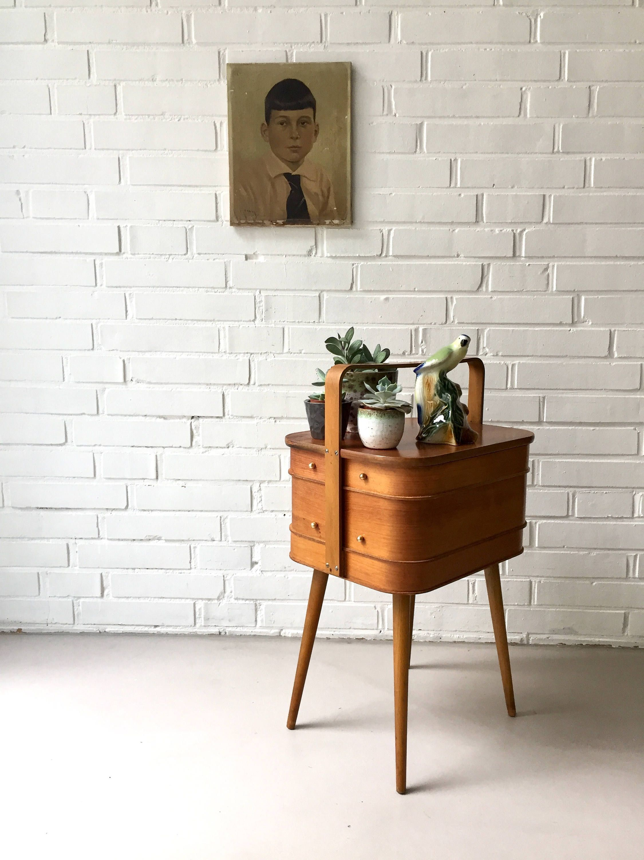 Reserved For Julia Vintage Nähkasten Tisch Teak