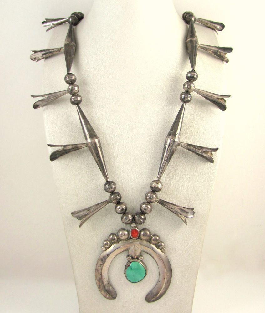 be0cf485a Old Pawn Navajo Sterling Silver Turquoise Coral Squash Blossom Naja Necklace  J