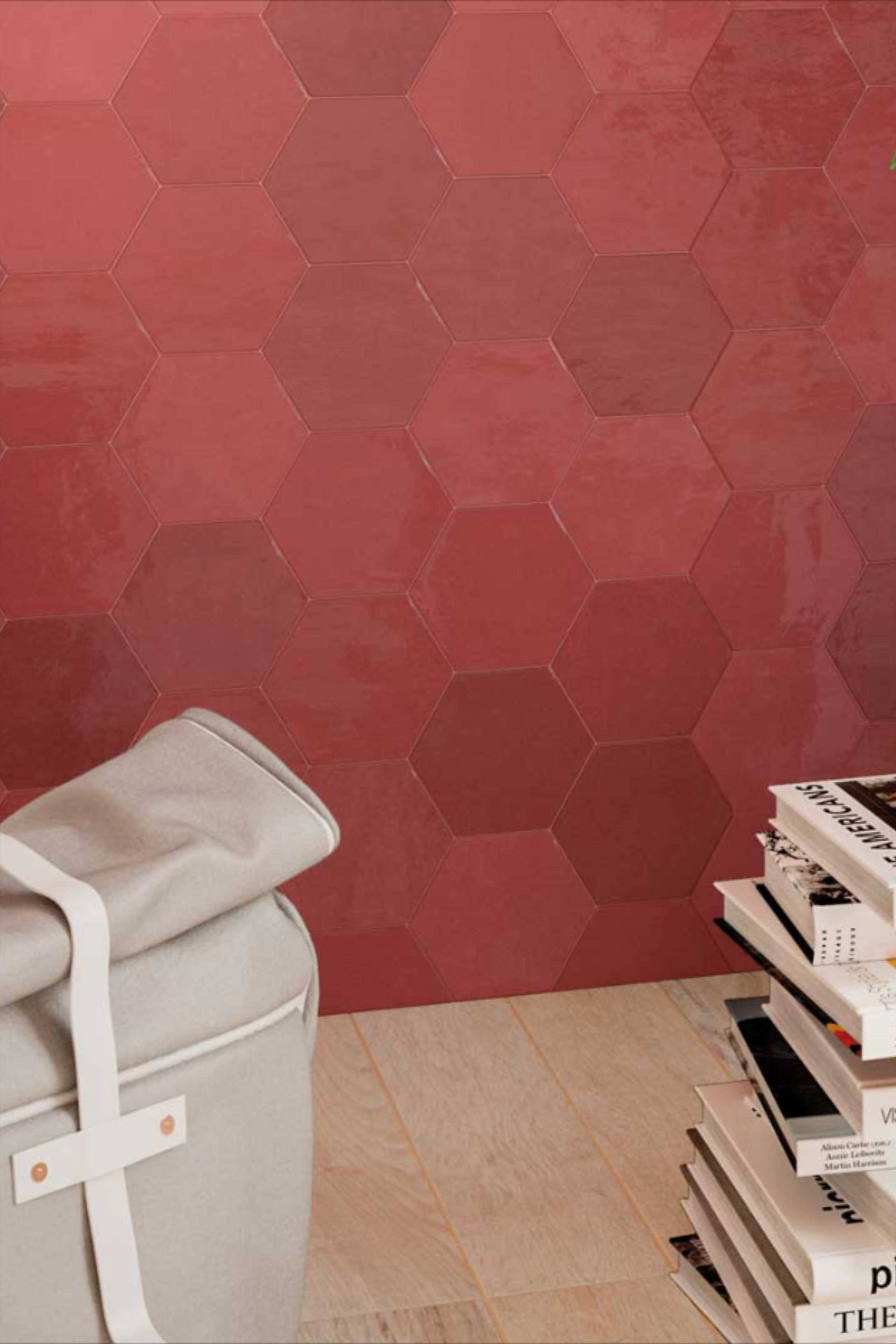 Deco Hexagonale Rouge En 2020 Carrelage Carrelage Mural Carrelage Gres Cerame