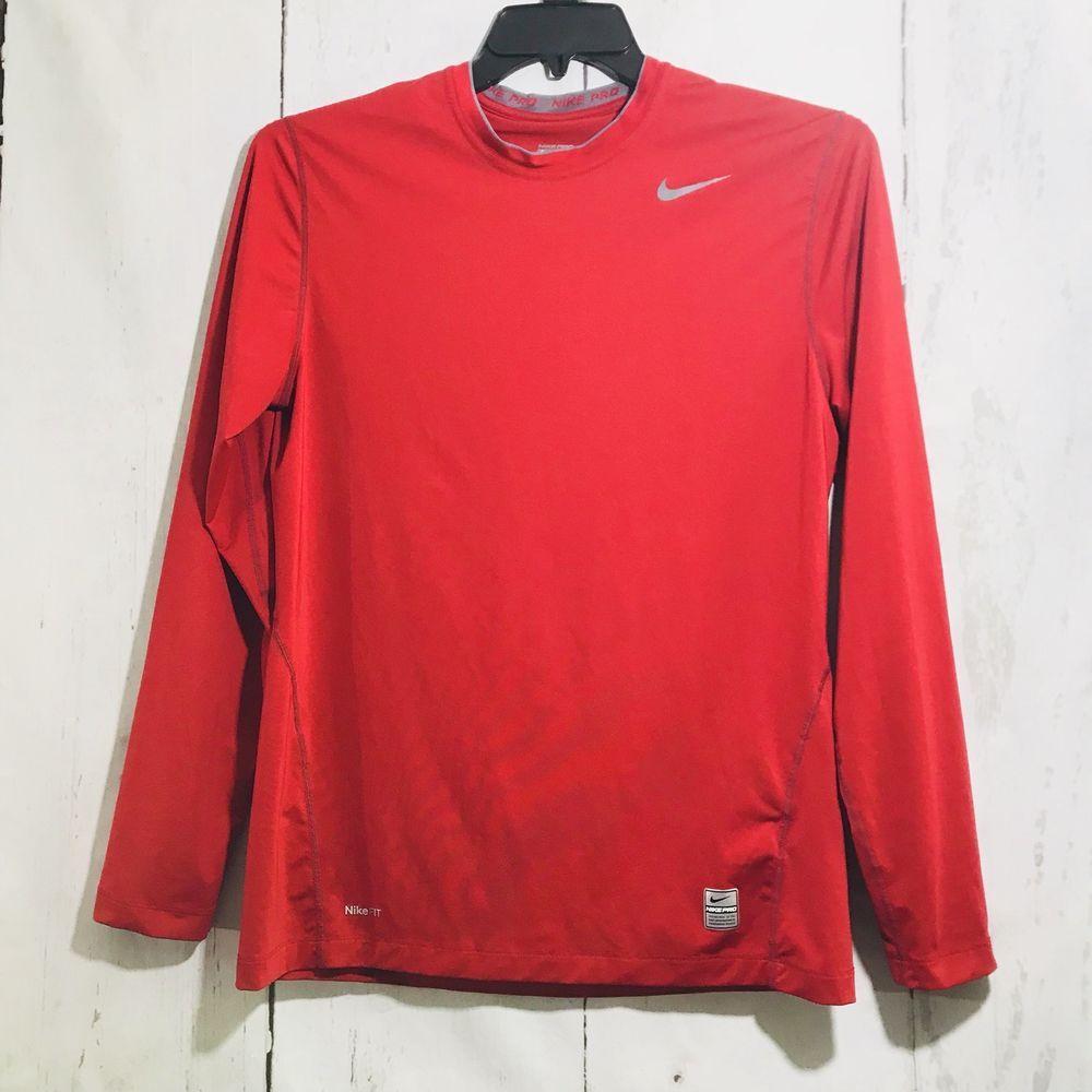 Nike mens drifit pro combat red long sleeve shirt sz m