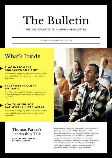 Black & Yellow Bold Corporate Company Newsletter | Newsletter design  layout, Email newsletter design, Newsletter design templates