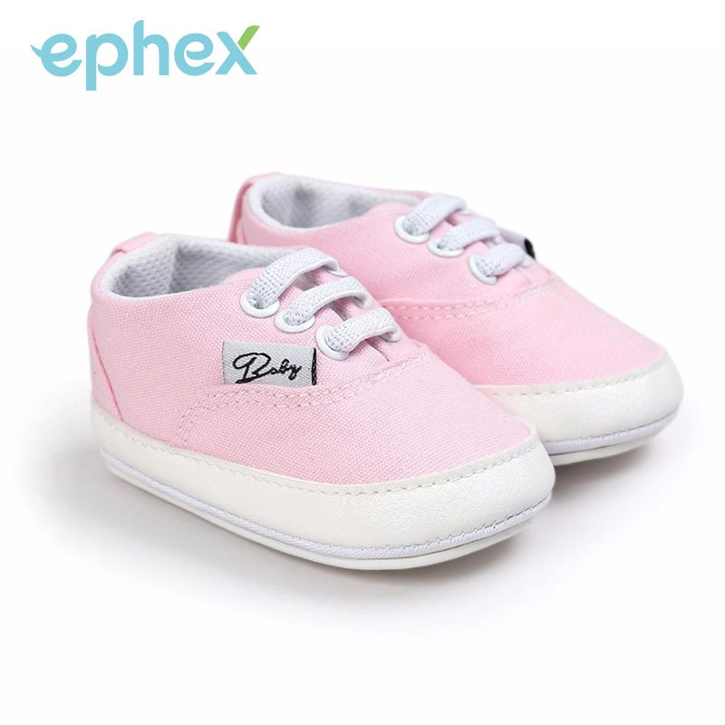 7c39a37a585e Ephex Baby Girls Boys Soft Sole Shoes Toddler Kid Prewalkers Canvas  Cross-tied Lace-