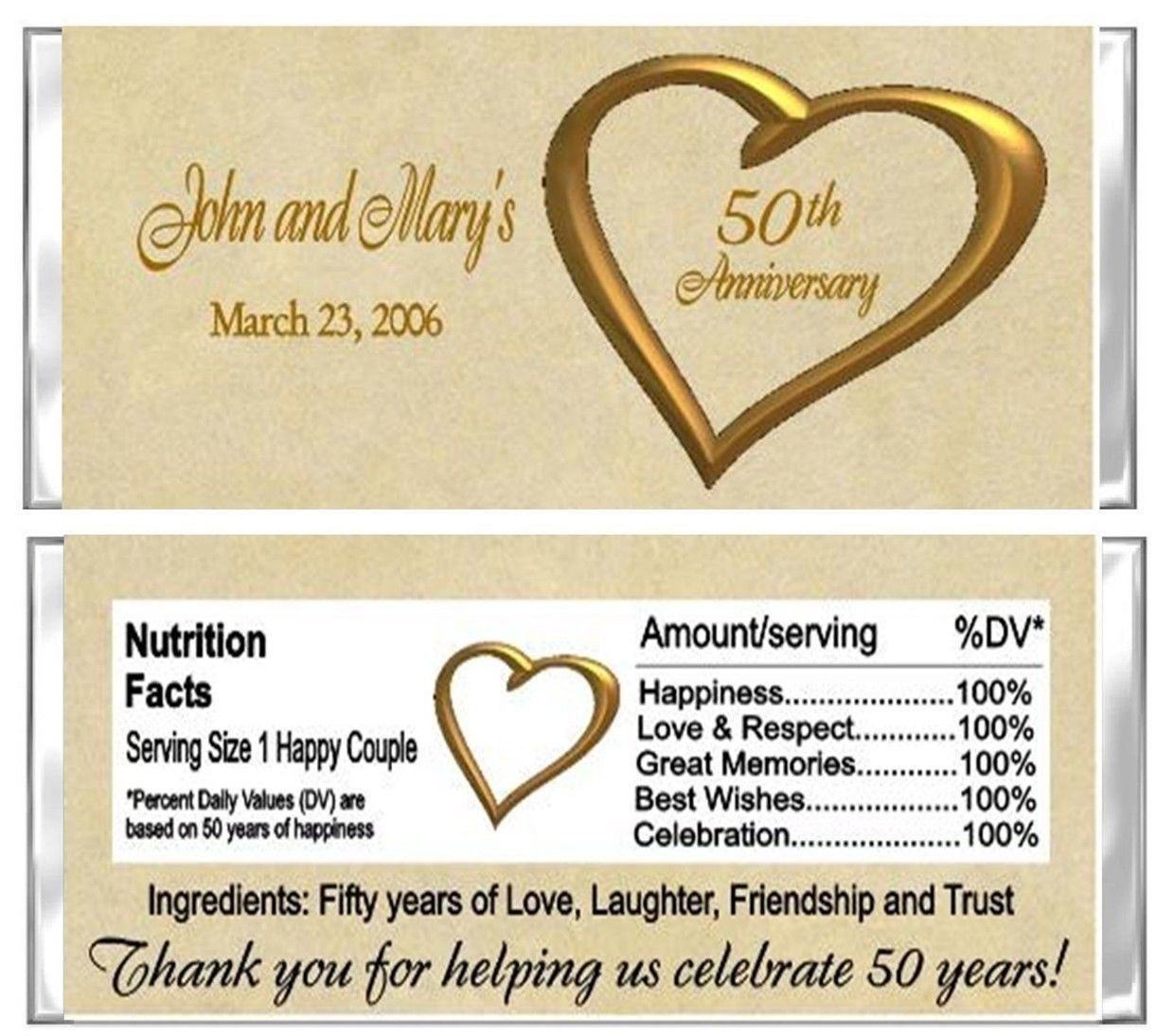 50th Anniversary Wedding Candy Wrappers Party Favors Custom Personalized