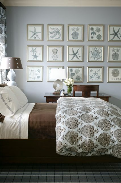 Smokey Blue Bedroom: Coastal Smokey Blue & Chocolate Brown Bedroom. Vintage