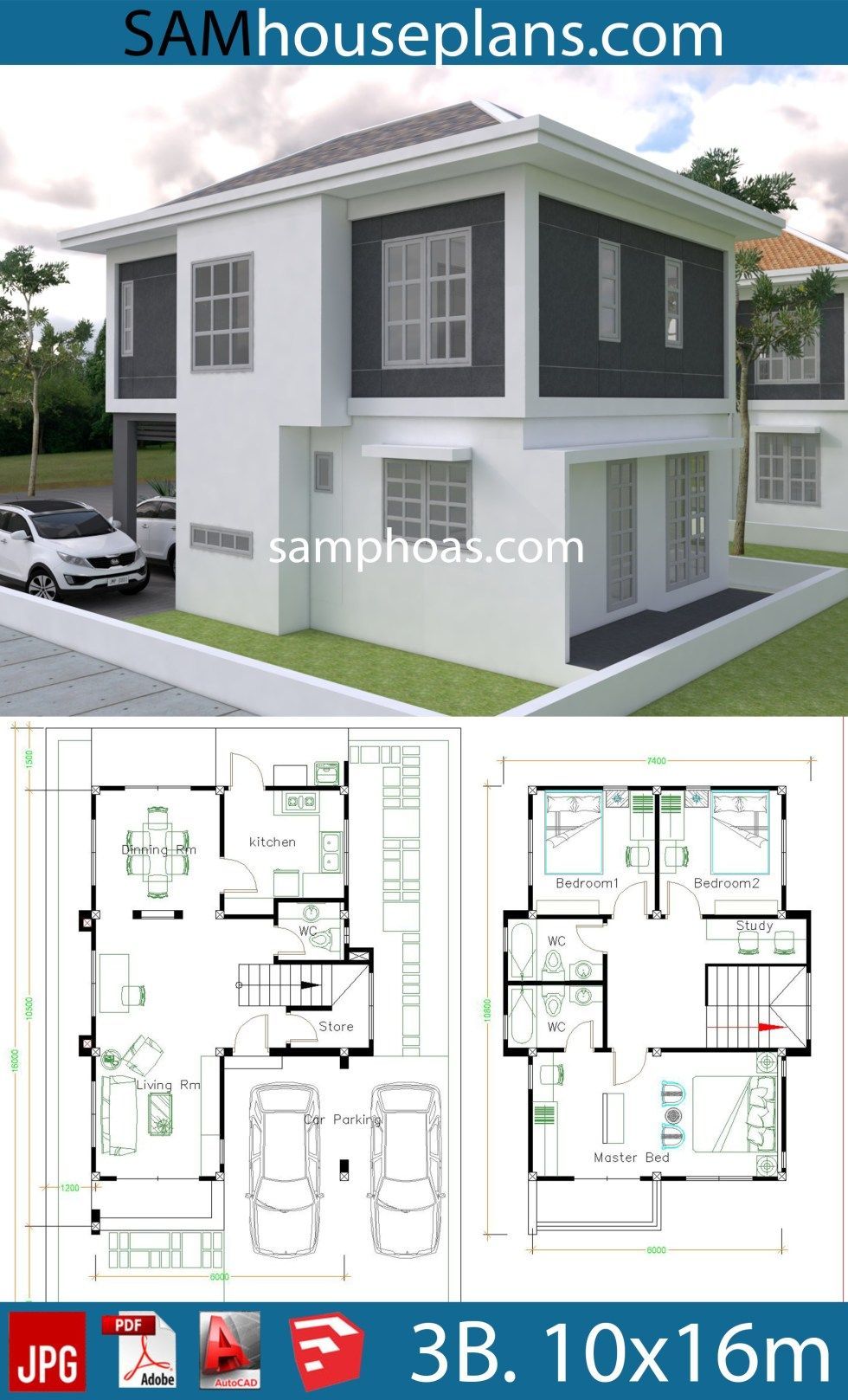 House Plans 10x16m With 3 Bedrooms Sam House Plans Architectural Design House Plans House Plans House Layout Plans