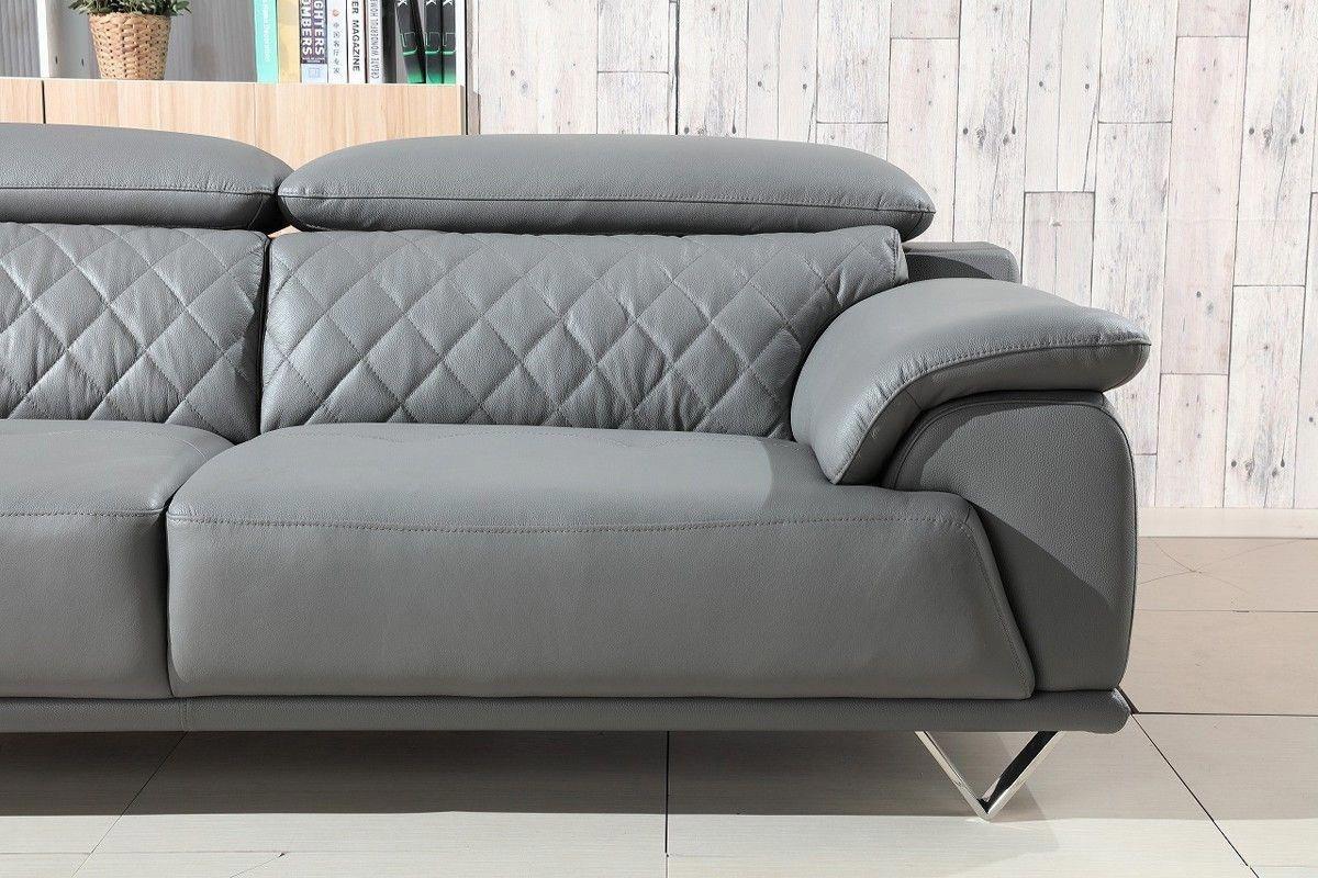 Divani Casa Wolford Modern Grey Leather Sofa Set Stylish Design Furniture Modern Grey Leather Sofa Modern Leather Sofa Leather Sofa