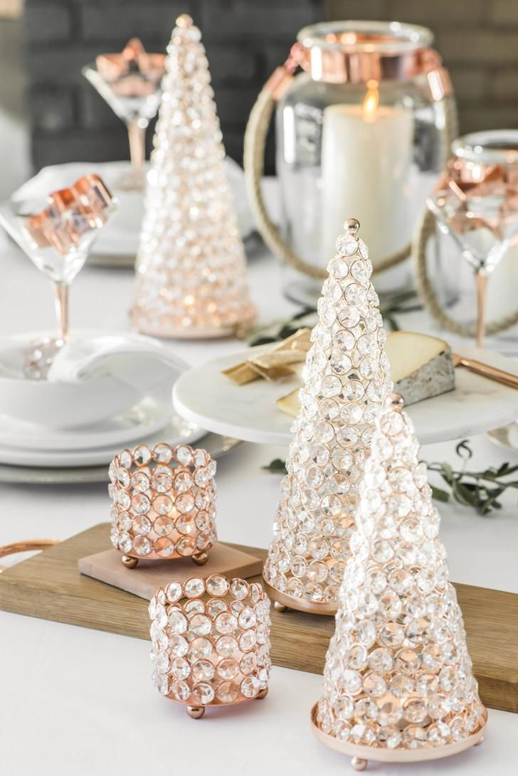 Rose Gold Crystal Xmas Tree Add Some Bling To Your Xmas Table Rose Gold Christmas Table Rose Gold Christmas Rose Gold Decor