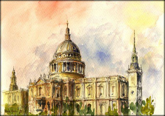 "London St Paul's Cathedral Church  English city british  cityscape 11x8"" 29x21 cm art original Watercolor painting by Juan bosco"