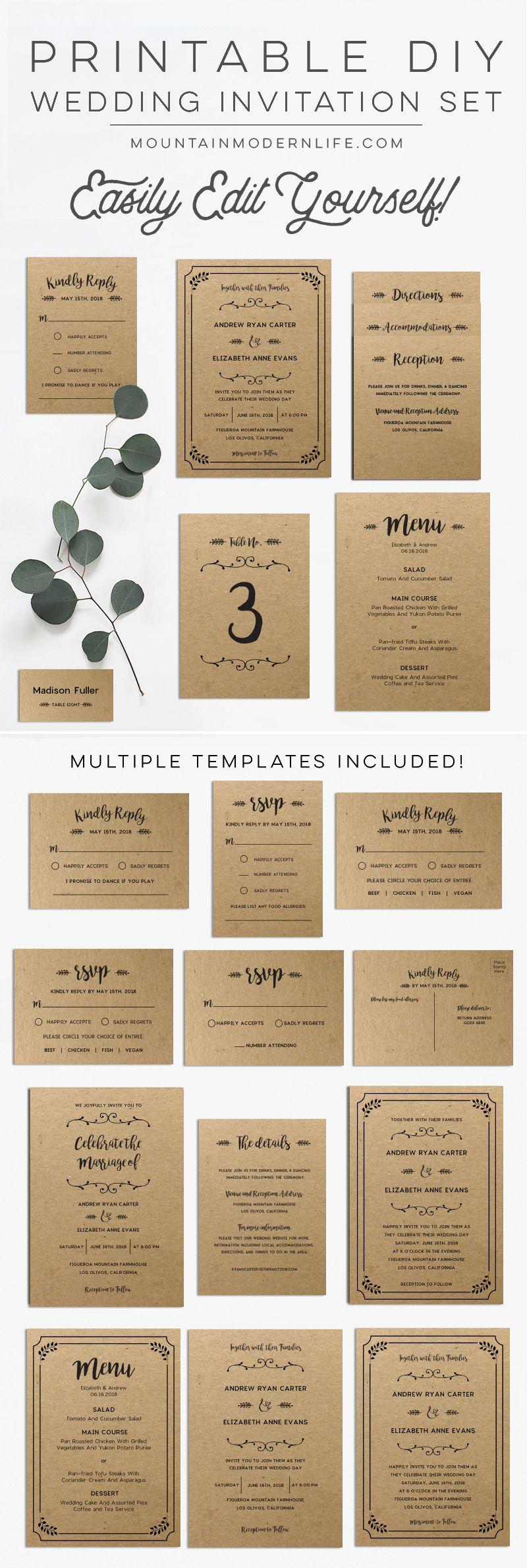 Whimsical rustic diy wedding invitation set wedding pinterest