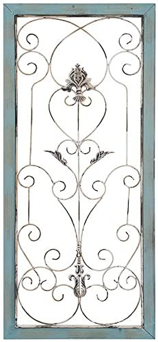 Photo of Best Seller AHUA Large Modern Industrial Wall Decor, Classic Wood Metal Wall Panel, Metal Wall Decor, Rectangle Wooden Frame Wall Panel  Scrolled Metal Accents, Iron Rustic Vintage Scrolled Metal Wall Art online – Lovetopfashion