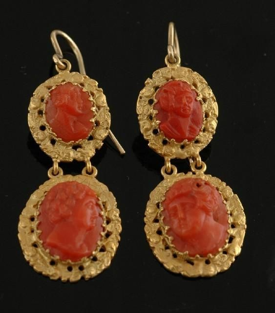 Victorian Carved Coral Cameo earrings