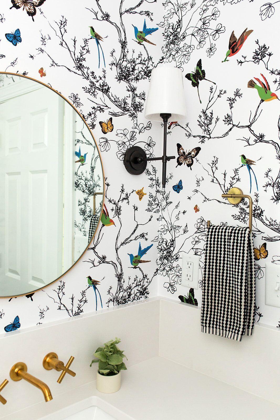 Photo of gold Bathroom Decor Powder Room, whimsical wallpaper, details, gold bathroom fix…