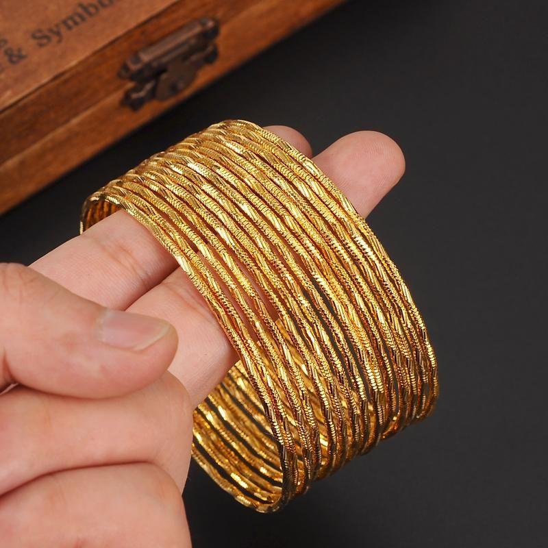 6 pcs Bollywood Slim South Indian Bangle Bracelet 24k Gold Plated Jewelry Set