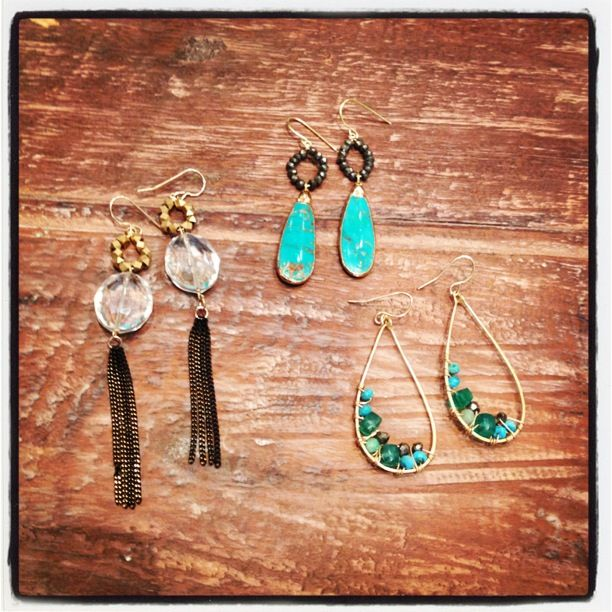 Crystal tassel, gold framed turquoise/pyrite, and wire wrapped turquoise and green topaz earrings!
