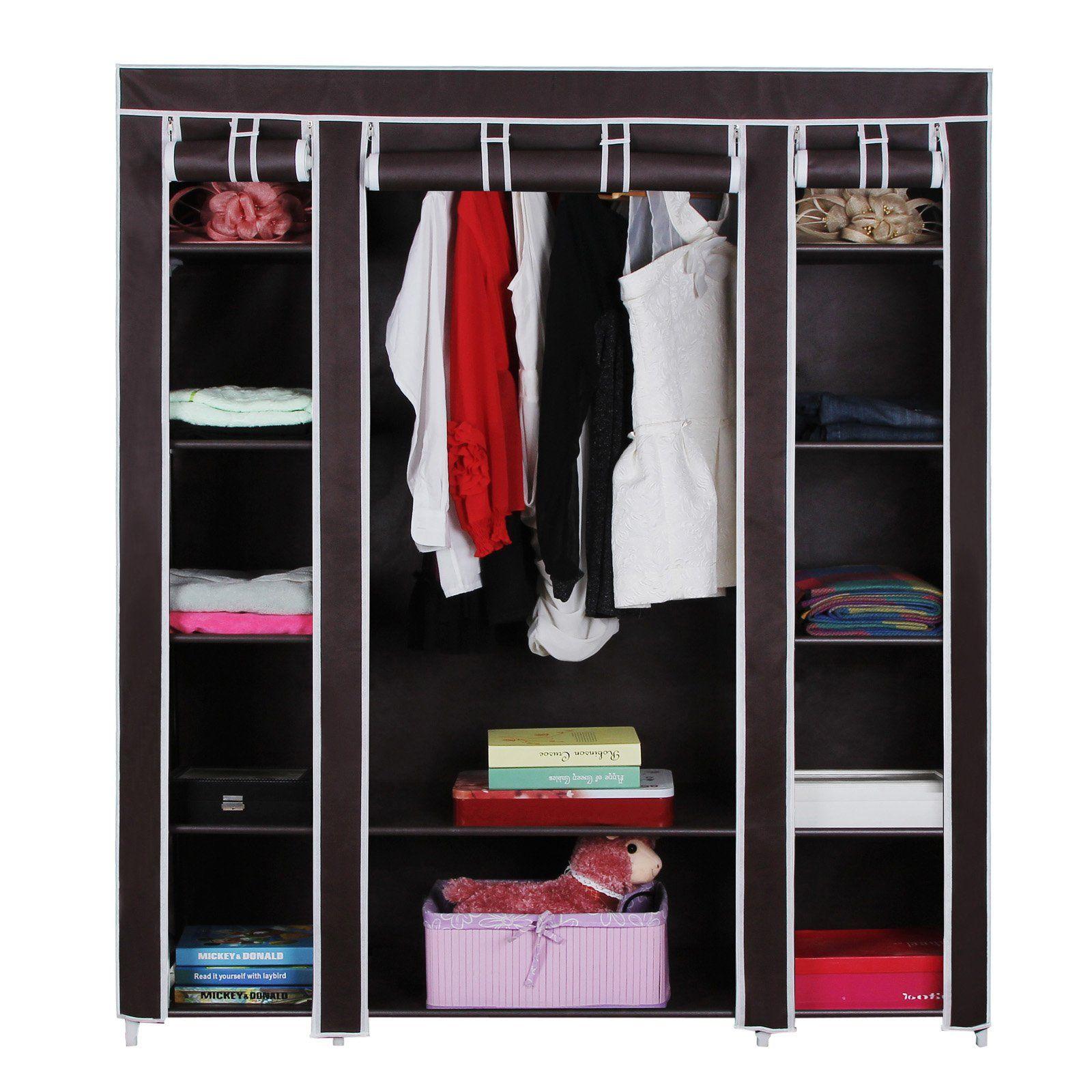 Non-Woven Fabric Storage Organizer Wardrobe SONGMICS 59 Inches Portable Closet