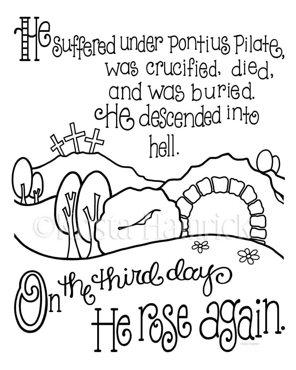 Apostles Creed Memory Coloring Collection Includes 9 Coloring Pages For Memorization Or Lessons Memorizzazione Age