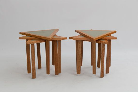 Vintage Triange Nest of Tables / Stacking by CasaBohemeStudio