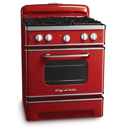 Gah I Must Have This Cherry Red Gas Stove Modern Ovens By Big Chill Retro Kitchen Appliances Retro Stove Retro Kitchen