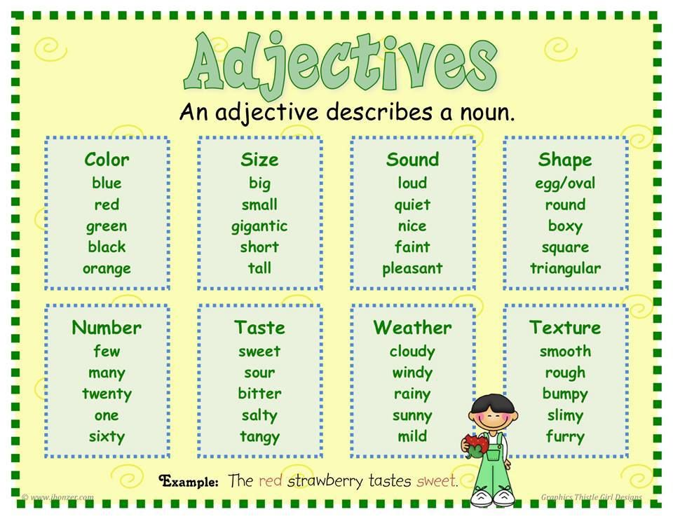 31eaa9fb122 Adjectives - give students categories of adjectives and have them think of  example. Use in a lesson about describing things people.