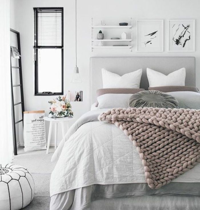 Plaid rose lit gris parure de lit blanche et grise couleur peinture blanche