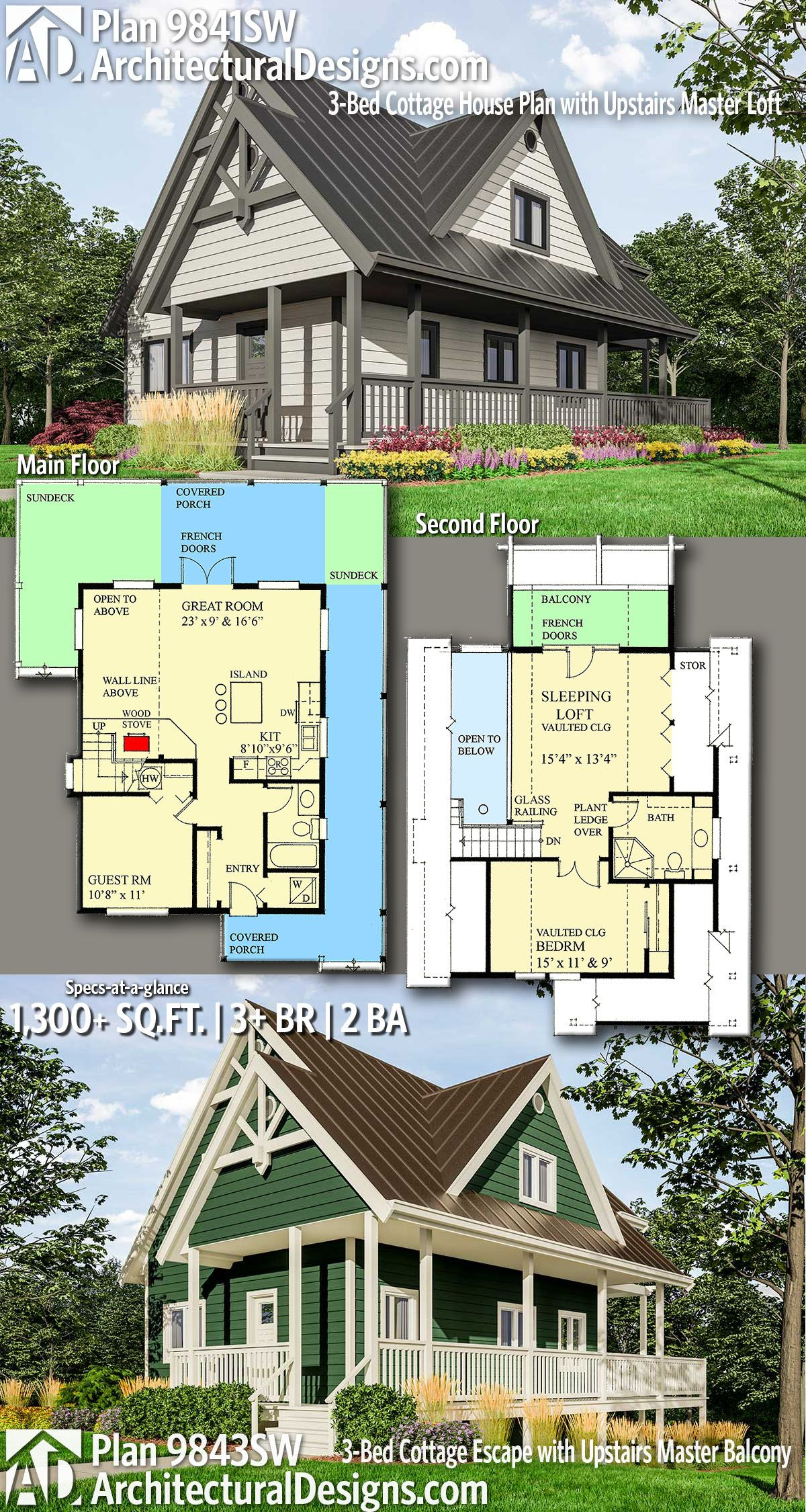 Plan 9841sw 3 Bed Cottage House Plan With Upstairs Master Loft Cottage House Plans Architectural Design House Plans House Plans