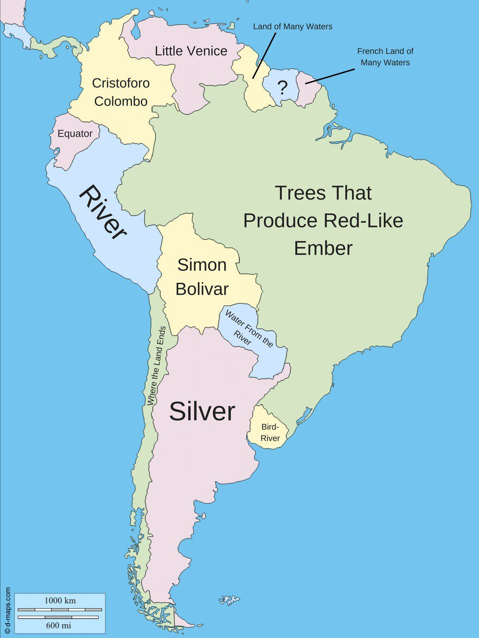 Meaning and origin of country names in a South America. | Maps of ...