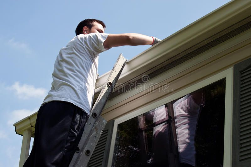 Man Latter Day Young Man On Latter Cleaning House Gutters Aff Young Day Man Man Gutters Ad Home Maintenance The Last Time Maintenance