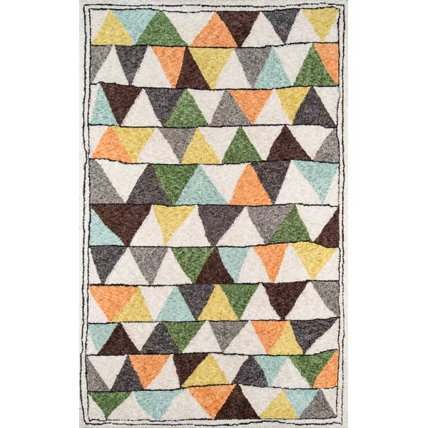 Bungalow Geometric Handmade Tufted Gray Brown Green Area Rug Multicolored Rugs Plush Area Rugs Green Area Rugs