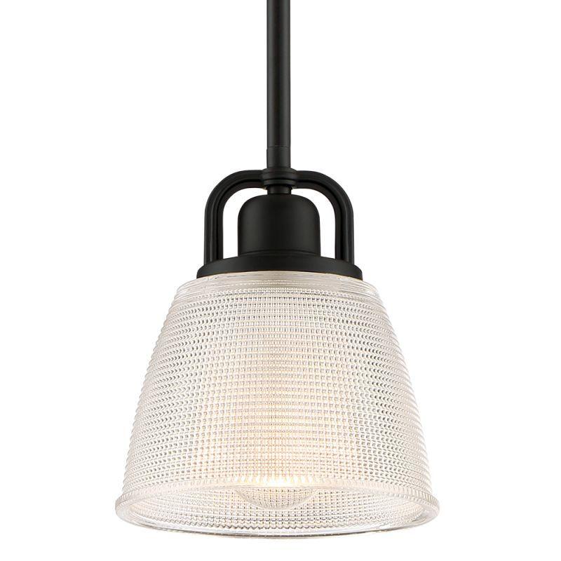 "Quoizel DBN1506 Dublin Single Light 7"" Wide Pendant with Glass Shade Mystic Black Indoor Lighting Pendants"