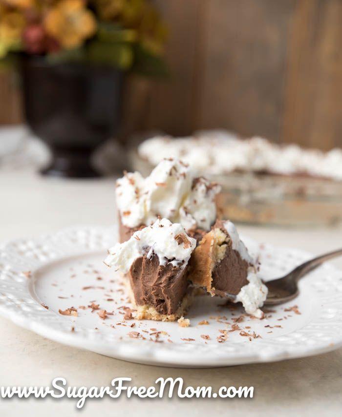 Sugar Free Keto Chocolate Cream Pie (Low Carb, Nut Free, Gluten Free) #sugarcreampie