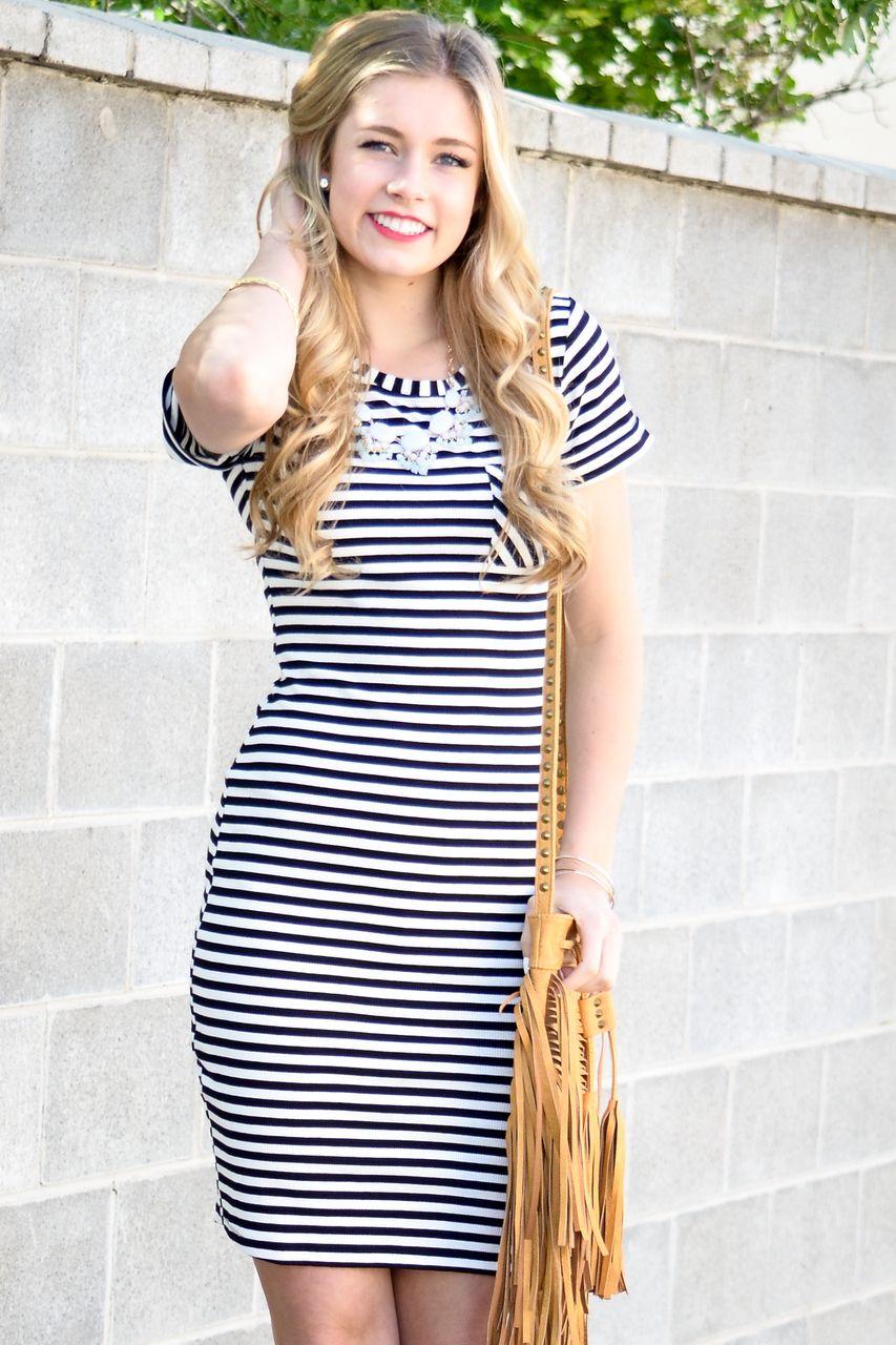 ec1b0b6e70d Black Striped Midi Dress - My Sisters Closet