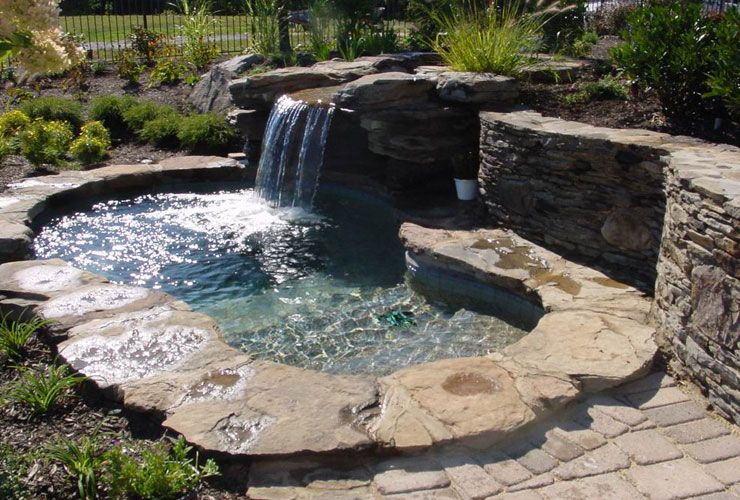 Nice Outdoor Spa Hot Tub Design With Rock With Images Hot