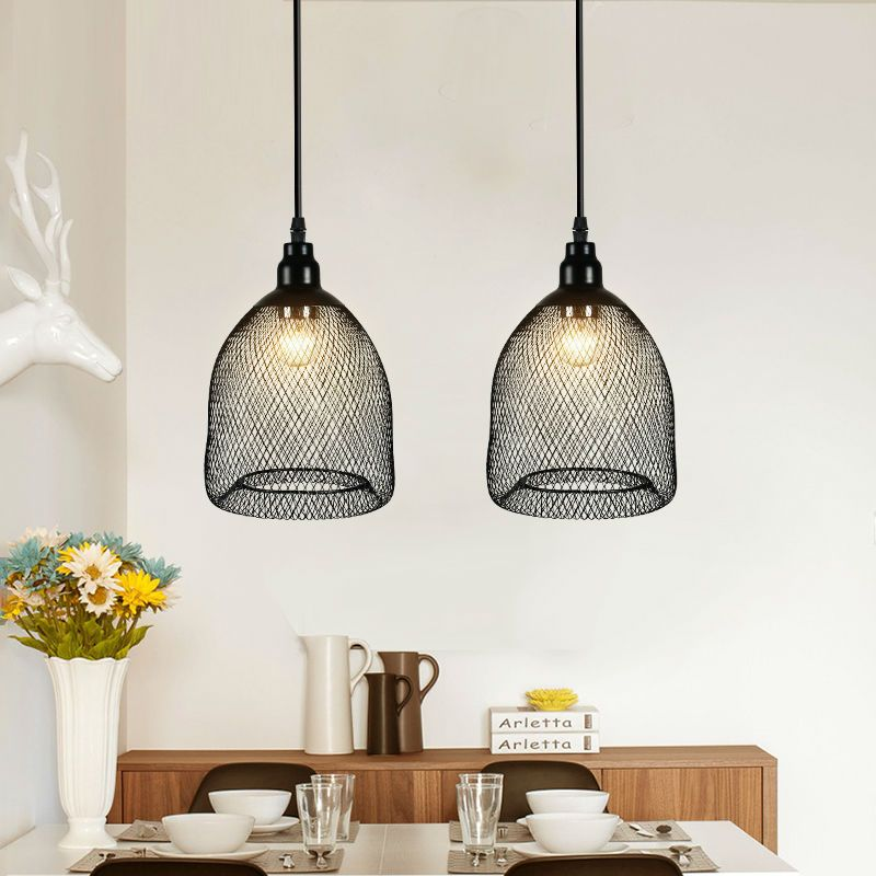 Vintage Metal Pendant Light Fixture Black Mesh Kitchen Dining Room