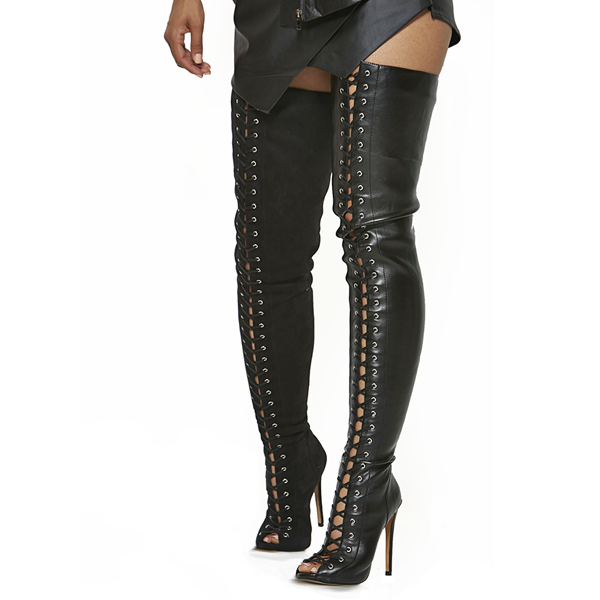 Lace Up Thigh High Boots - http://www.sexyshoeswoman.com/lace-up ...