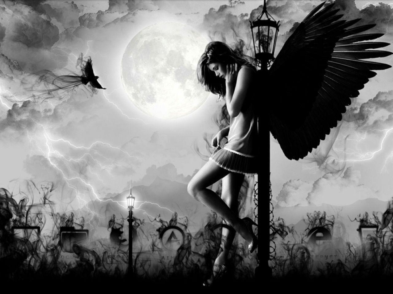 Dark Angel Wallpaper HD | Wallpaper | Pinterest | Dark angel wallpaper, Sad angel and Angel ...