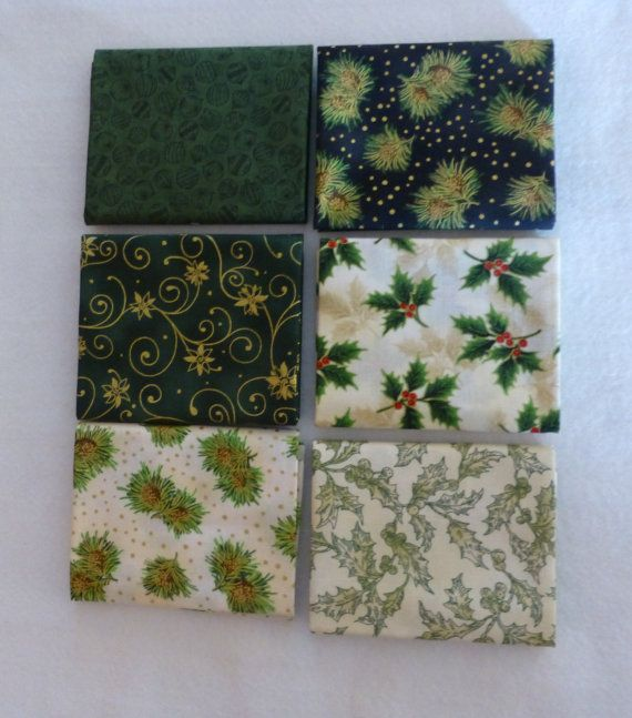 Cotton Fabric, Quilt, Home Decor, Christmas Fat Quarter Bundle of 6, Shades of Green, RJR Fabrics, Fast Shipping