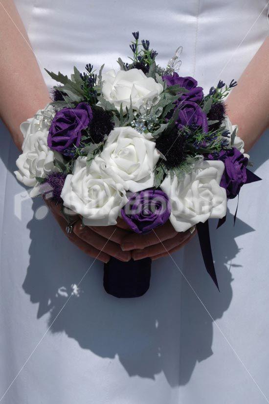Purple & White Rose Scottish Bouquet w/ Dark Purple Thistles | White ...