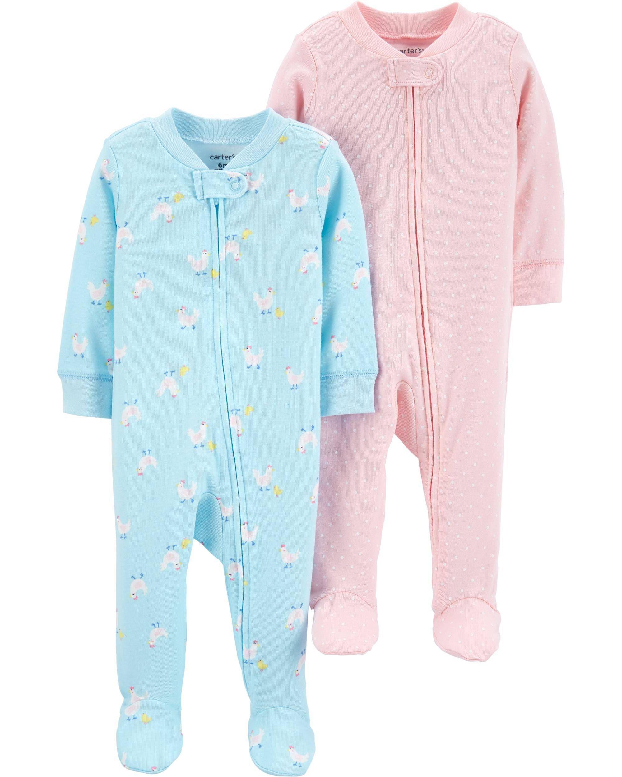 Carters Boys 2-Pack Zip-Up Snug Fit Cotton Romper PJs